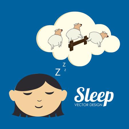 delusion: Sleep design over blue background, vector illustration