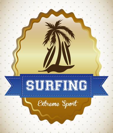 gold coast: surfing graphic design , vector illustration