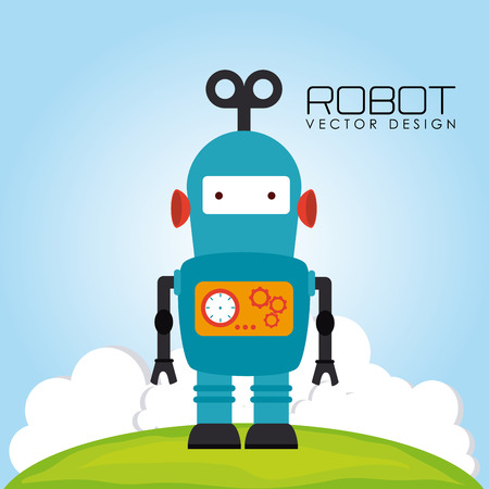 Robot design over landscape background, vector illustration Vector