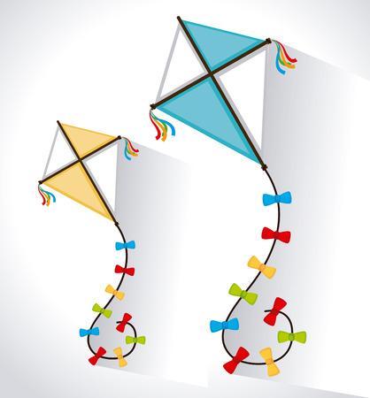 flying kite: Kite design over white background, vector illustration
