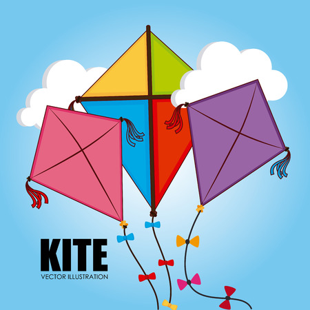 Kite design over cloudscape background, vector illustration Vector
