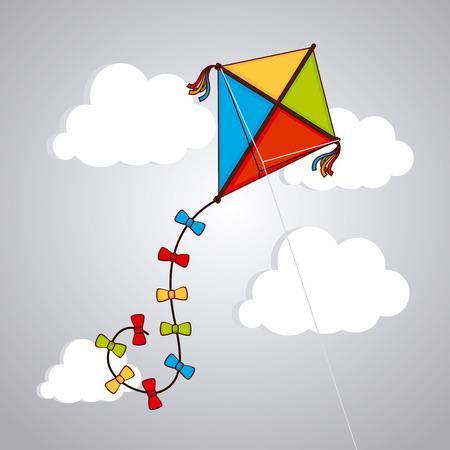 flying kite: Kite design over cloudscape background, vector illustration