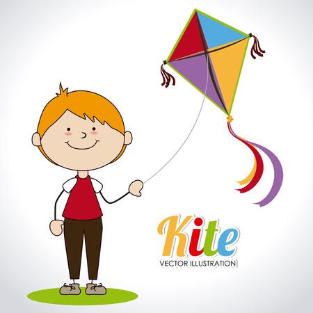 hapiness: Kite design over white background, vector illustration