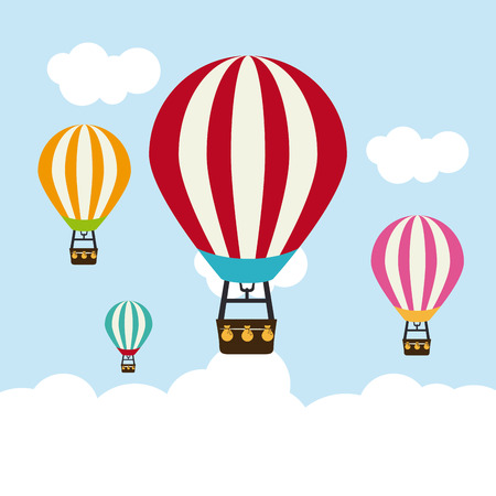 cloudscapes: Air balloon, design over Cloudscape background, vector illustration