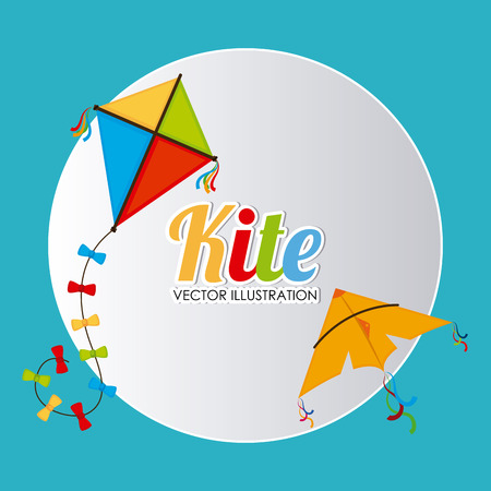 flying kite: Kite design over blue background, vector illustration