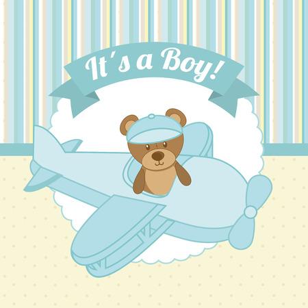 teddy bear love: baby shower graphic design , vector illustration Illustration