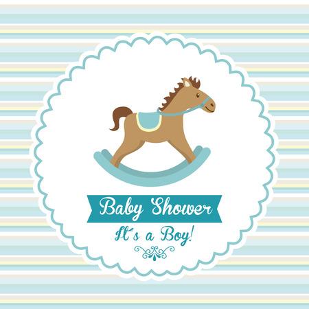 wooden horse: baby shower graphic design , vector illustration Illustration