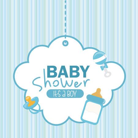 chico: ducha del bebé de diseño gráfico, ilustración vectorial Vectores