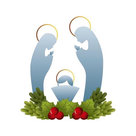 virgen maria: diseño gráfico de la navidad, ilustración vectorial Vectores
