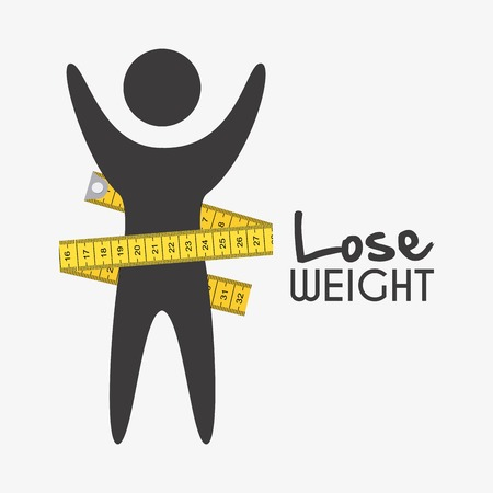 tape measure: lose weight graphic design , vector illustration