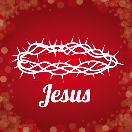 corona de espinas: Diseño cristianismo sobre fondo rojo, ilustración vectorial