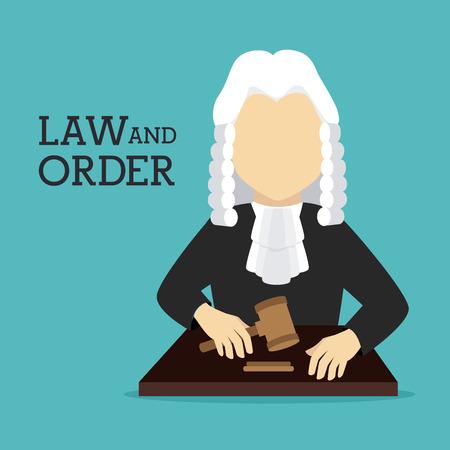 tribunal: Law design over blue background, vector illustration