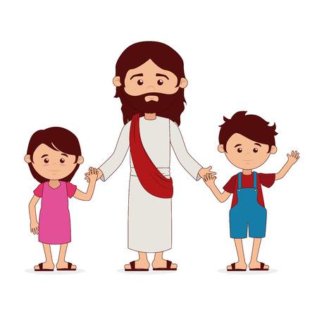 Conception christianisme sur fond blanc, illustration vectorielle