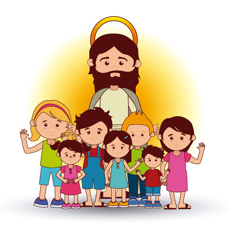 people in church: Christianity  design over white background, vector illustration