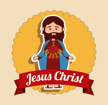 Christianity  design over beige background, vector illustration Ilustrace