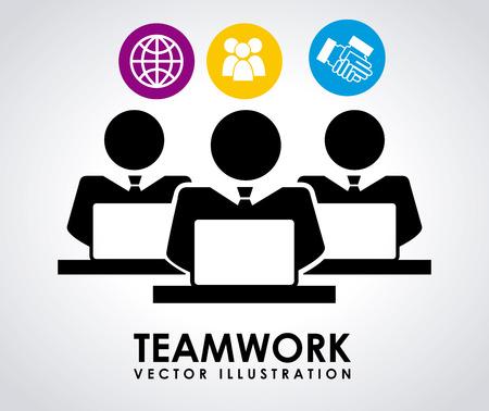work worker workforce world: teamwork graphic design , vector illustration