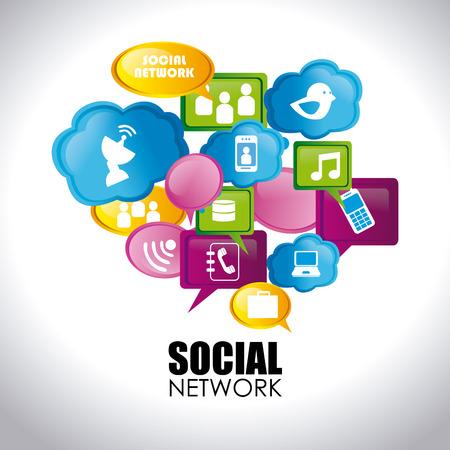 social media: Social network design over gray background,vector illustration