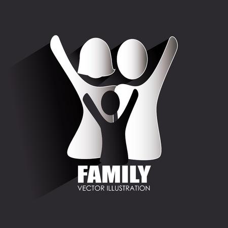 black family: Family design over black background,vector illustration
