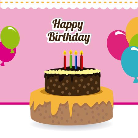 Birthday design over pink background,vector illustration