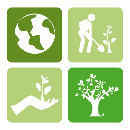 seeding: Ecology design over white background,vector illustration Illustration