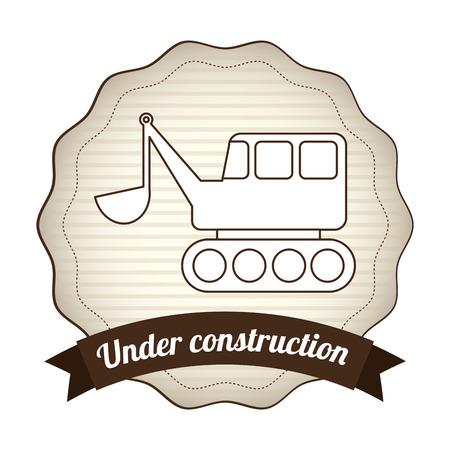 tractor warning sign: under construction graphic design , vector illustration Illustration