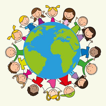 happy planet earth: dise�o de los ni�os, ilustraci�n vectorial