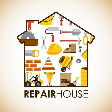 warning saw: repair house construction design illustration Illustration