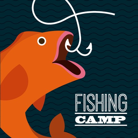 fishing catches: fishing camp design illustration Illustration