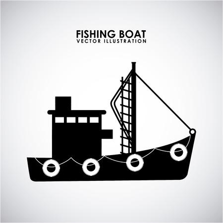 barca da pesca: barca da pesca design illustrazione Vettoriali