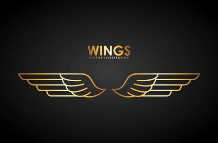 black wings: wings design illustration Illustration