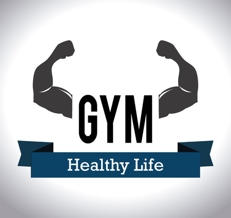 Gym healthy life design over white background
