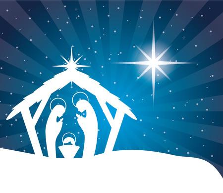 pesebre: diseño de la navidad, ilustración vectorial Vectores