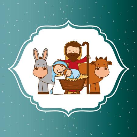 sacra famiglia: progettazione di Natale, illustrazione vettoriale Vettoriali