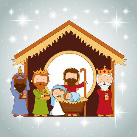 pesebre: dise�o de la navidad, ilustraci�n vectorial Vectores
