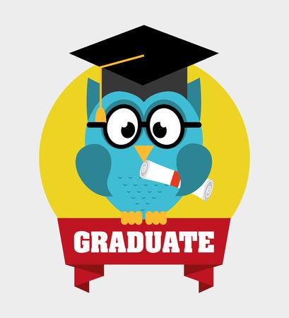buho graduacion: dise�o graduado, ilustraci�n vectorial