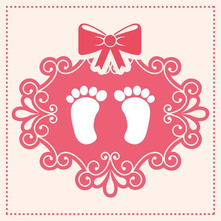 newborn footprint: baby card  , vector illustration