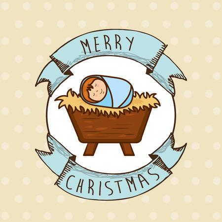 nascita di gesu: progettazione di Natale, illustrazione vettoriale Vettoriali