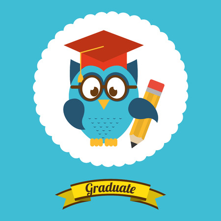 graduacion caricatura: diseño de la graduación, ilustración vectorial