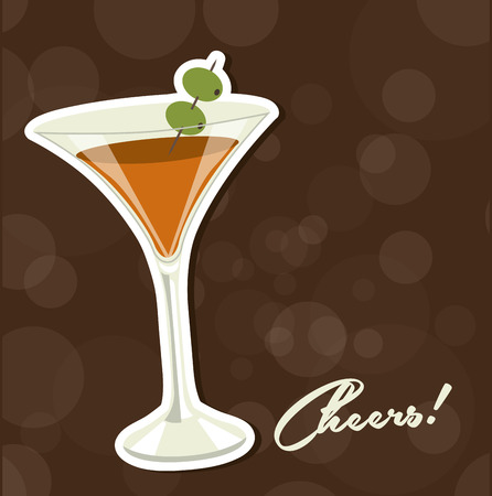 cheery: cocktail design, vector illustration