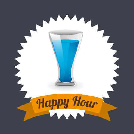 happy hour design, vector illustration Vector