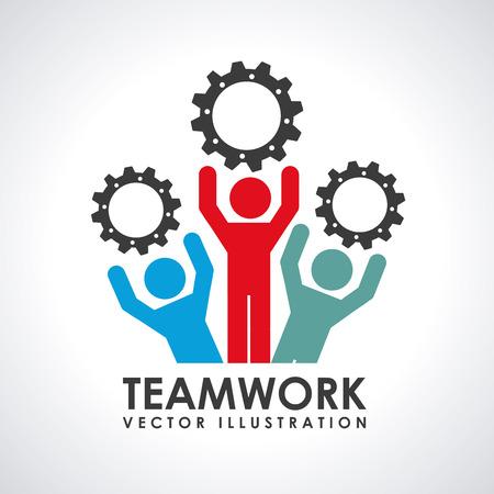 working together: teamwork  design , vector illustration