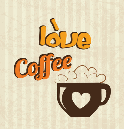 time over: love  coffee time over lineal background vector illustration Stock Photo