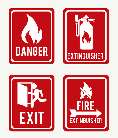 extinguisher: Firefigther design over white background, vector illustration.