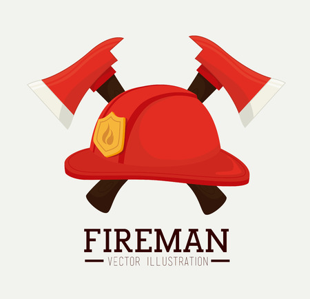 Firefigther design over white background, vector illustration.