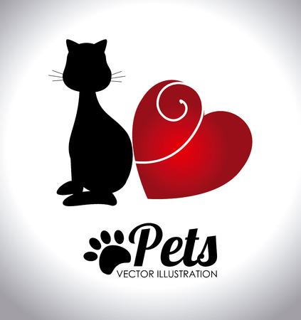 sil: Pets design over white background,vector illustration.