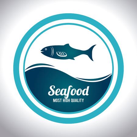 nutritive: Seafood design over white background Illustration