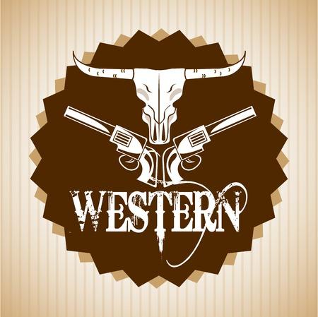 seal gun: western banner design Illustration