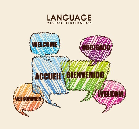 speech ballons: language poster design
