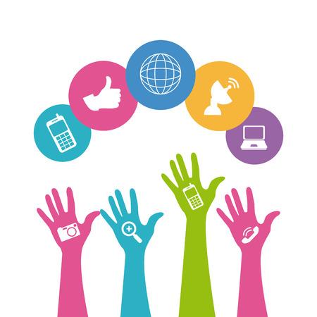 Social media design over white background,vector illustration. Ilustrace