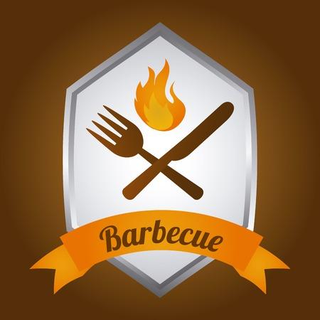 barbecue label Vector